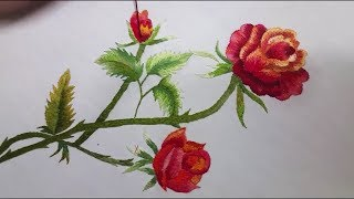 Rose Flower ... Hand Embroidery
