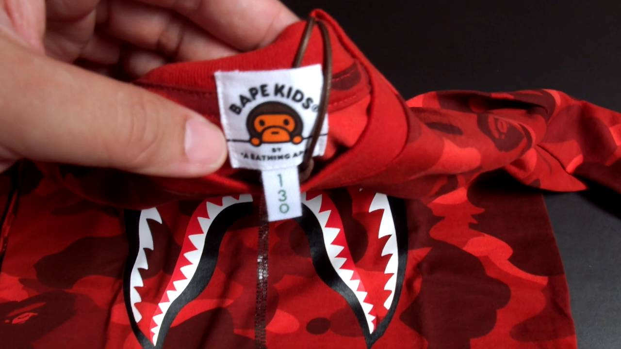 Bathing Ape Bape Kids Red Long Sleeve Shark Tee Unboxing