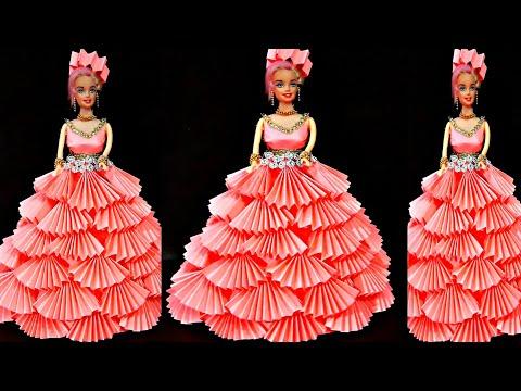 पेपर से सजाये गुड़िया/DIY Paper made beautiful doll dress