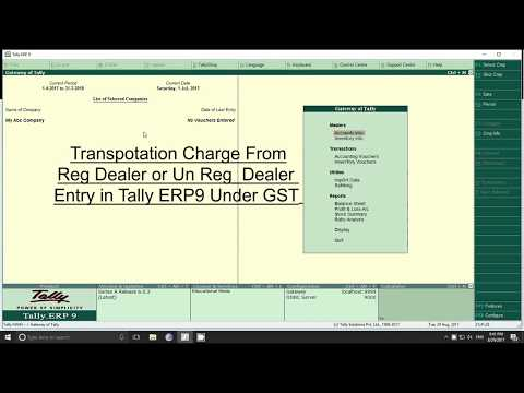 Transportation charge unger gst in tally erp9