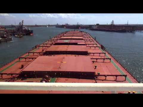 vessel entering port of Port Hedland, vessel berthing operation, original video by seafarer on board