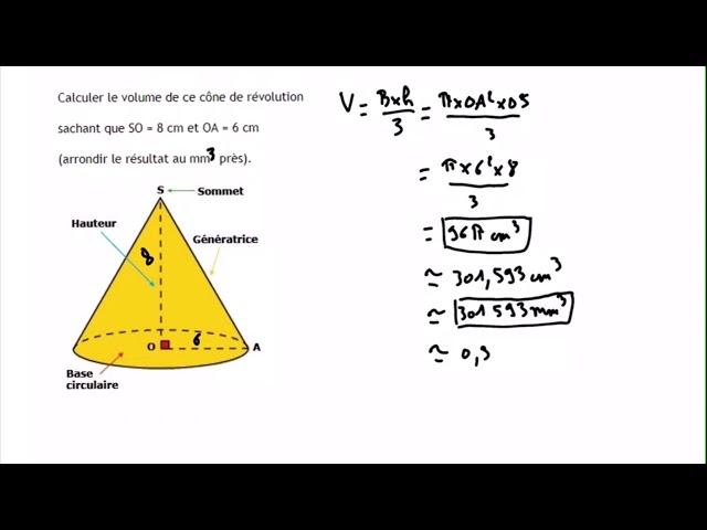 Volume d'un cône de révolution - Exercices maths corrigé