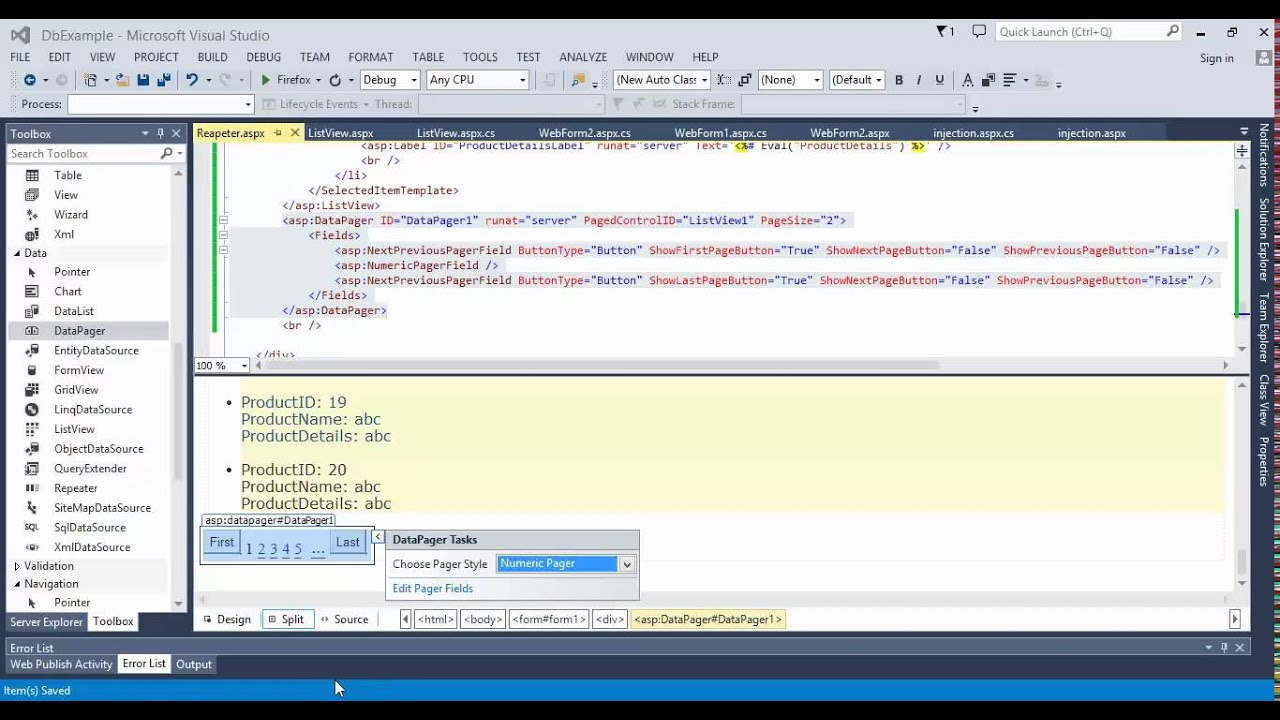 دورة قواعد بيانات للمبتدئين 18#   العرض بشكل الصفحات في  DataPager