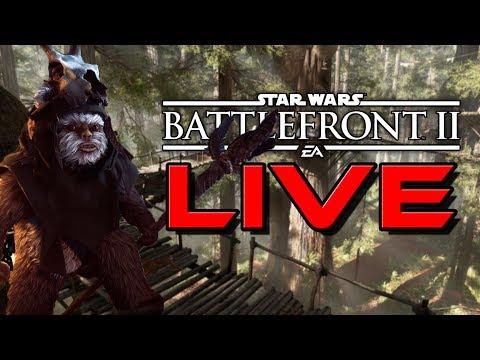 LIVE Star Wars Battlefront 2- NEW SKINS & EWOK HUNT! Maul works too!