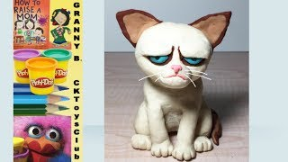 How to make Grumpy the Cat with Play-Doh . by Granny B. CKToysClub