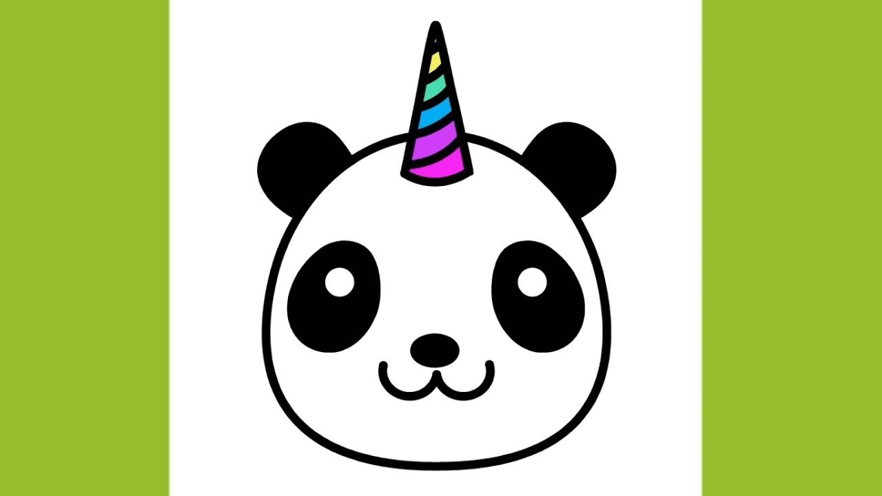 How to draw Pandacorn Emoji Face Drawing Cute and Easy ... - photo#2