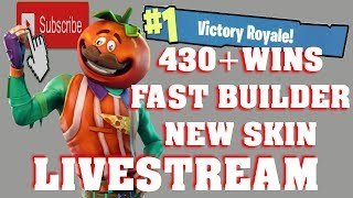 FORTNITE LIVESTREAM 430 WINS | FAST BUILDER | VBUCKS GIVEAWAY | NEW TOMATO SKIN | BATTLE ROYALE