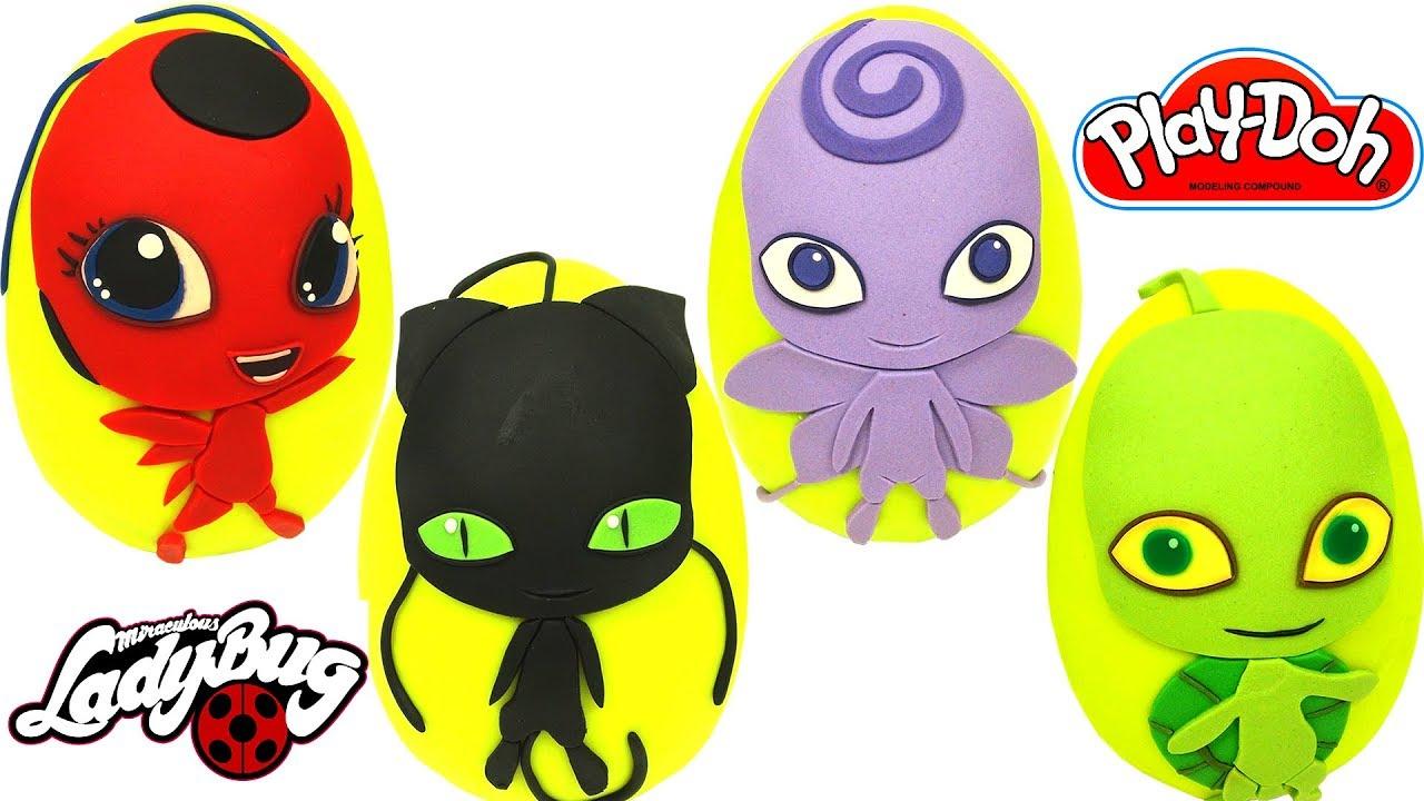 Download Huevos Sorpresas de 4 Kwamis de Miraculous Ladybug Tikki Plaga Nooroo y Wayzz Plastilina Play Doh