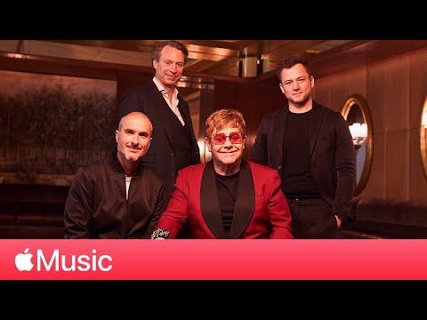 Taron Egerton Elton John and Giles Martin Rocketman Roundtable   Apple