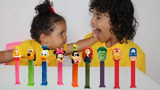 Learn colors with candy ! sami and amira have fun playtime with color song !