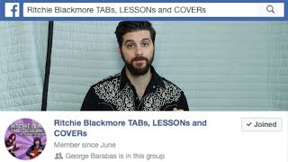 Ritchie Blackmore TABs, LESSONs and COVERs Facebook group
