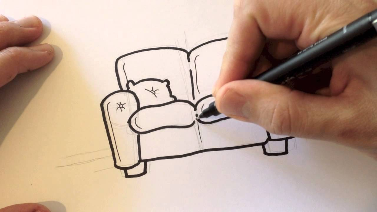 Drawing A Cartoon Couch Desenhando Um Sofa Youtube