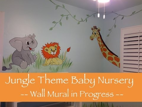 Jungle theme baby nursery mural youtube for Baby jungle safari wall mural