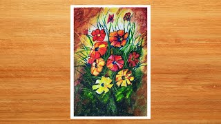 Floral Painting with Oil Pastels (with drawing)