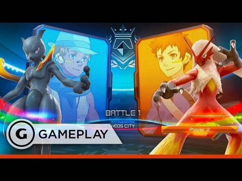 Shadow Mewtwo vs Blaziken - Pokken Tournament Gameplay