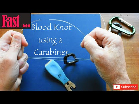 The BLOOD KNOT is a fishing knot everyone should know, tie it super fast w/ a carabiner!