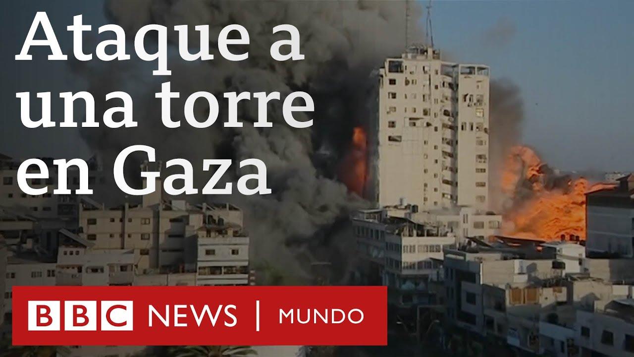 El momento en que una torre de Gaza es derrumbada en un ataque aéreo israelí | BBC Mundo