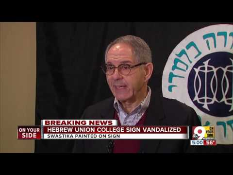 Hebrew Union College sign vandalized with swastika