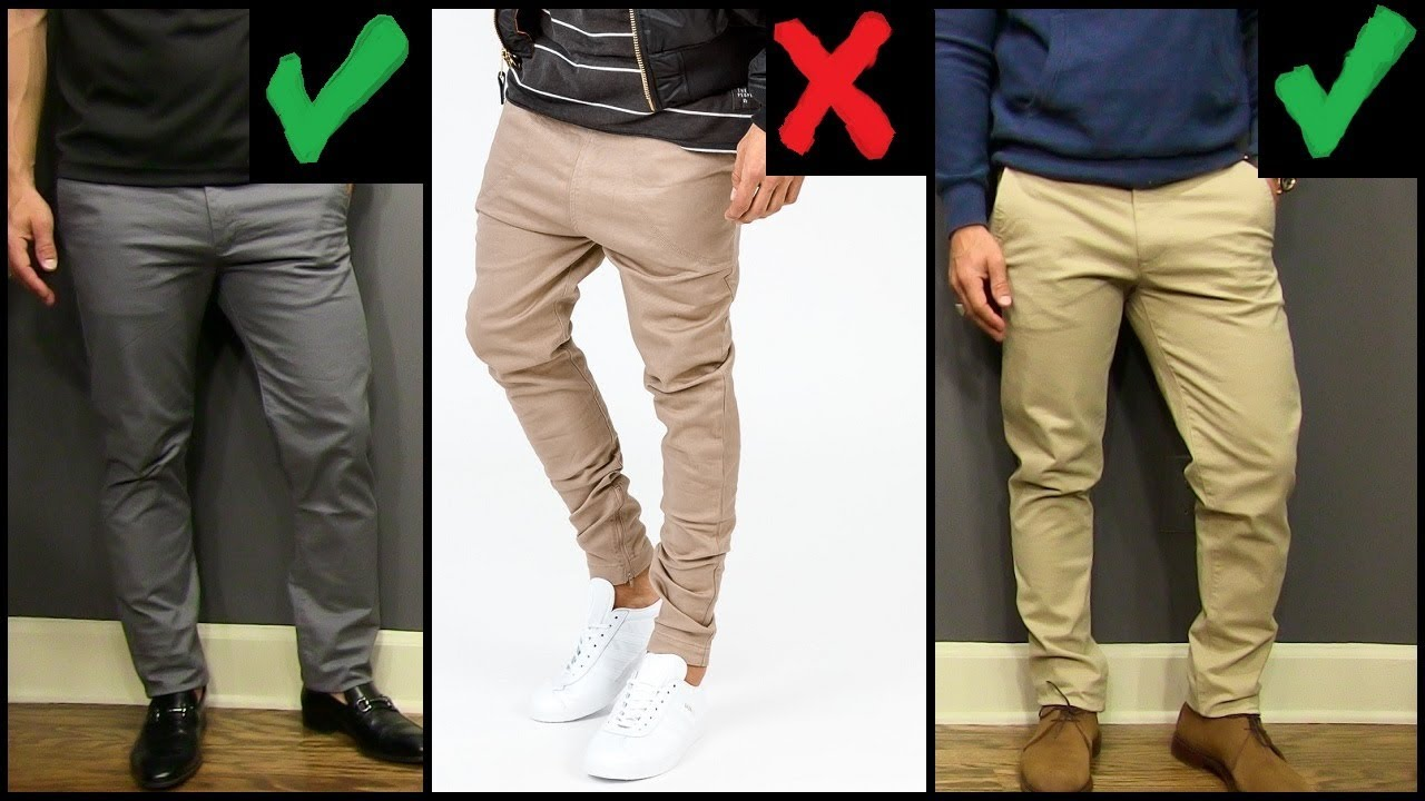 Best Chinos for Men When dressing for more formal occasions, your chinos should be of a fine lightweight twill and fit pretty much as your suit trousers do. And for a casual look try to team your chinos with nice graphic t-shirts, and also try to focus on the leg width of the chino you are wearing.