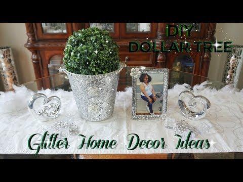 DOLLAR TREE DIY GLITTER HOME  DECOR | EASY & INEXPENSIVE DECOR IDEAS 2018