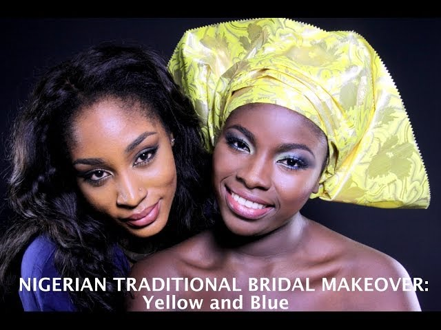 Nigerian Traditional bridal Makeup, Yellow and Blue Travel Video