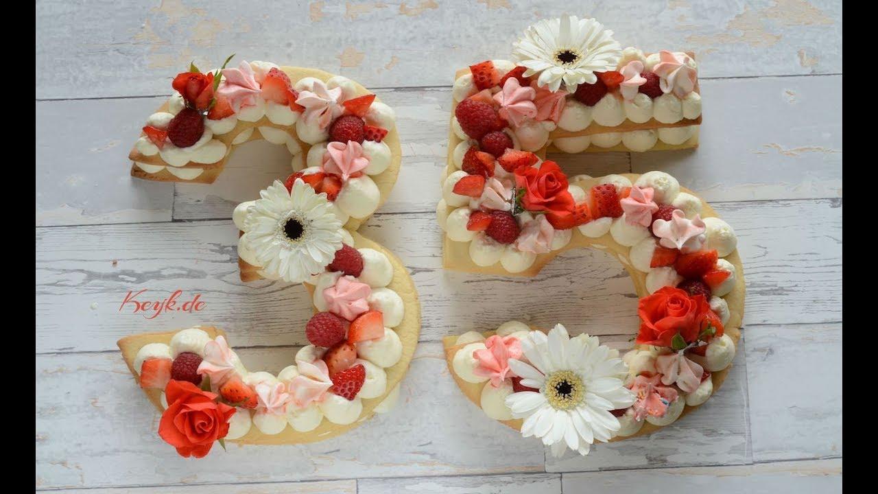 Geburtstagstorte Aus Kekse In Zahlenform Geeignet Fur Muttertag