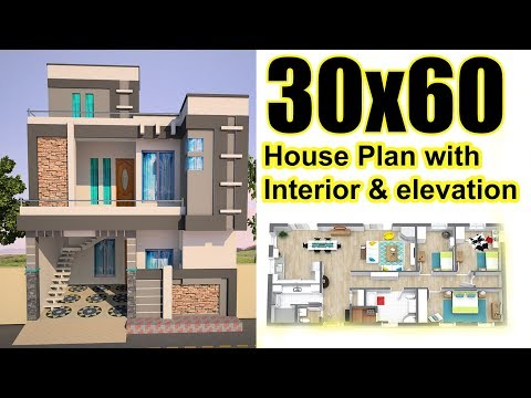 """30x60 House plan with interior & elevation 