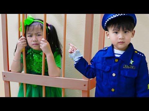 Jannie & Liam Pretend Play LOCKED UP Police in Jail