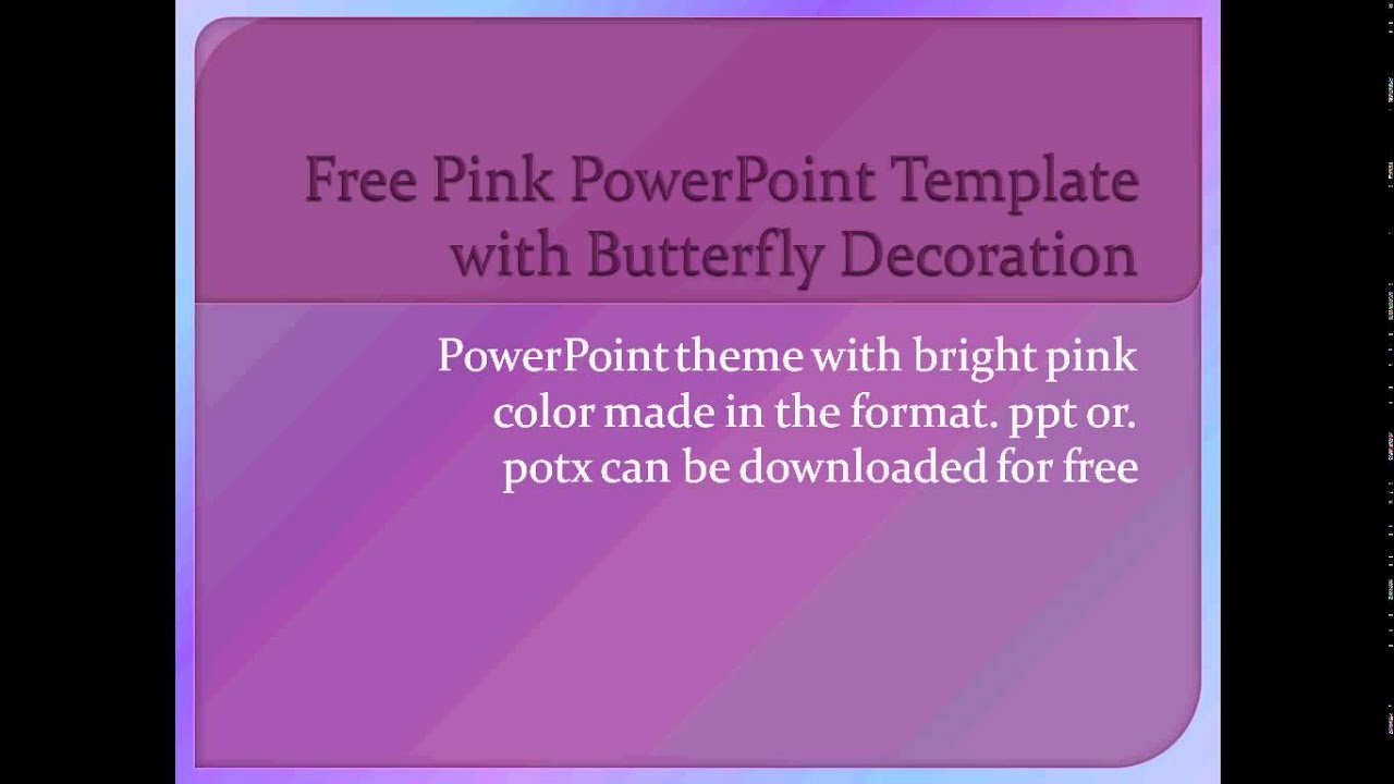 pink powerpoint template with butterfly decoration for presentation