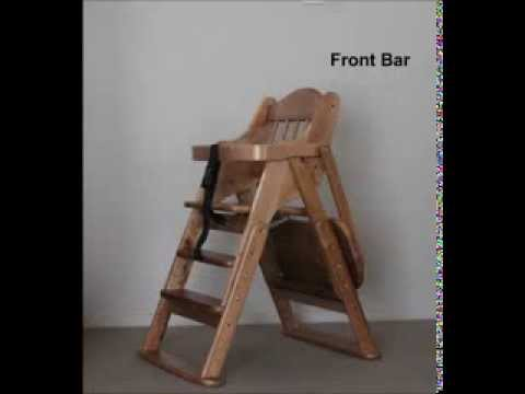 Multifunctional Solid Wood Foldable High Chair