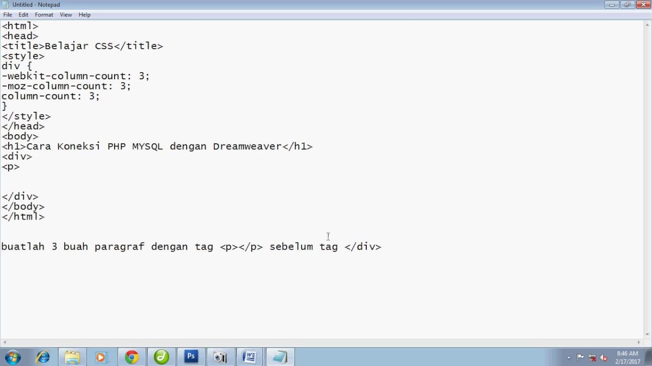 TUTORIAL WEB DESAIN PART 18 MEMBUAT KOLOM KORAN DENGAN CSS - YouTube
