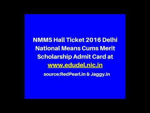 NMMS Hall Ticket 2016 | Delhi National Means Cums Merit Scholarship Admit Card | Jaggy