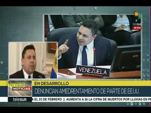 Samuel Moncada, embajador de Venezuela en OEA, entrevista el 16 febrero 2019 en Telesur
