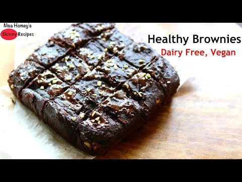 Healthy Vegan Brownie Recipe Dairy Free (no milk) & Eggless | Skinny Recipes