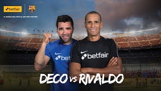 Fc barcelona legends rivaldo and deco go head to in a match played at the fcb training ground. joined by fans from around world who had won betf...