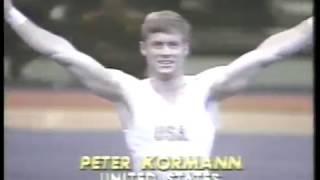 Gymnastics - 1980 - Exhibition - Men's Floor Exercise   USA Peter Kormann - With Jim McKay