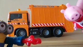 The Minions being naughty with the Dickie Toys Recycling Garbage Truck Toy