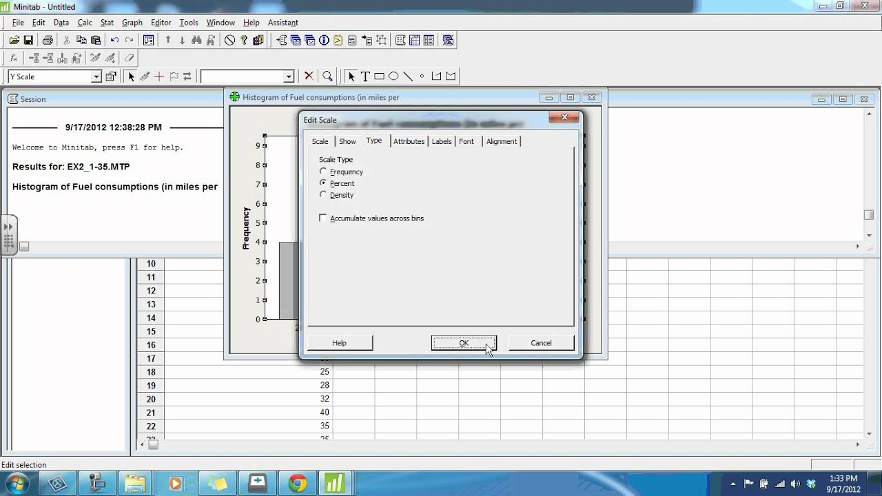 Relative Frequency Histograms in Minitab - YouTube