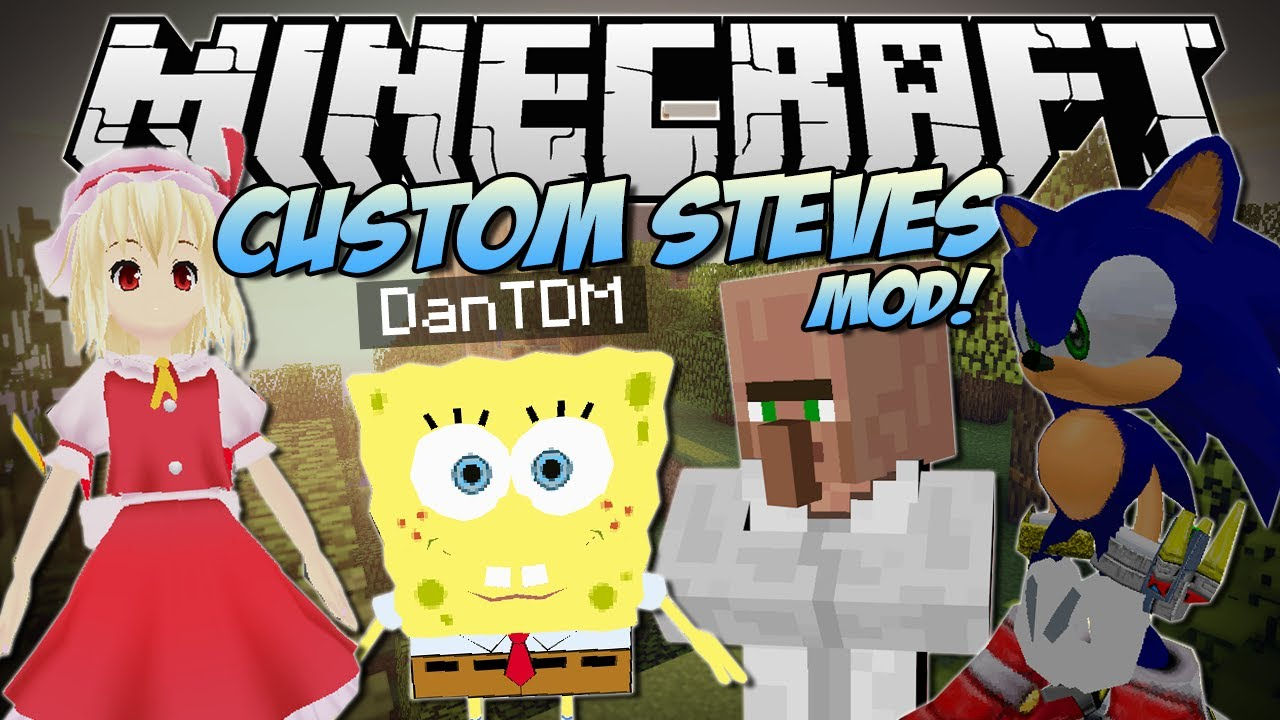Minecraft Custom Steves Mod Become Any D Game Character Mod Showcase Youtube