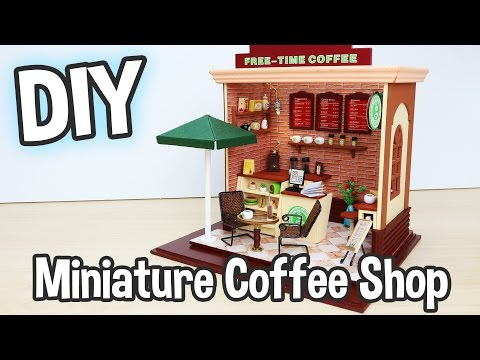 DIY Miniature Cafe Dollhouse Kit Cute Coffee Shop with Working Lights! / Relaxing Crafts