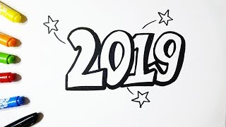 Glitter Happy New Year 2019 - Drawing and Coloring for Kids - By Vamos