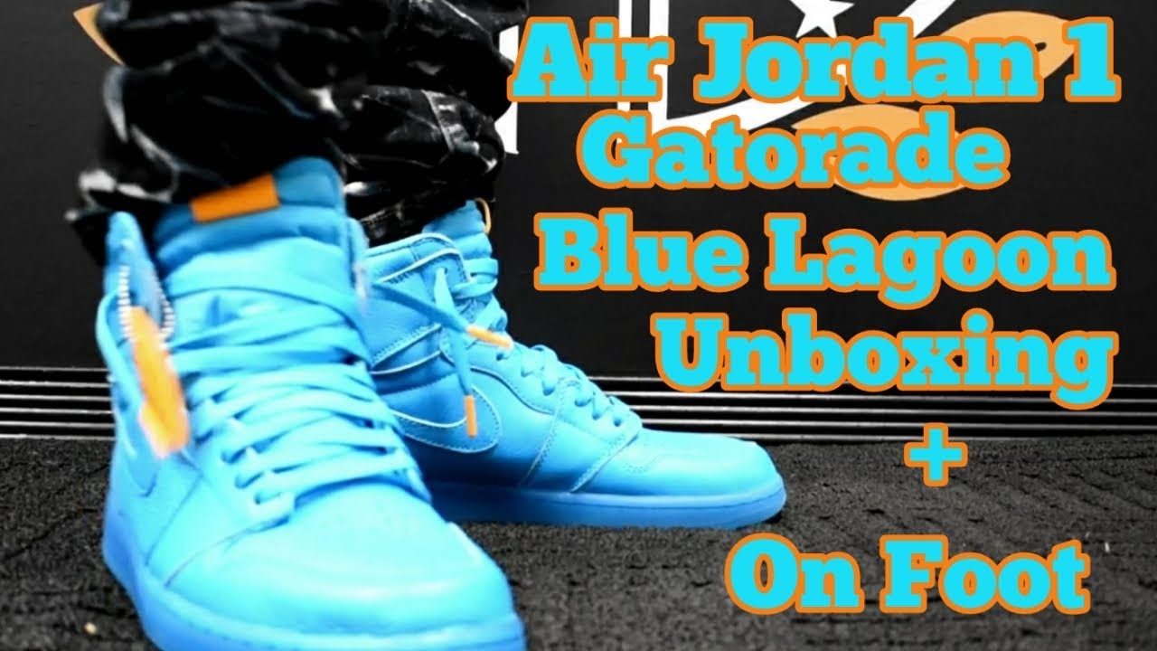 fd9f8efb5883 AIR JORDAN 1 GATORADE BLUE LAGOON UNBOXING AND ON FEET - YouTube