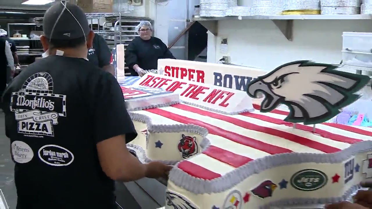 Massive Super Bowl themed cake made by Mass. bakery heading to Minneapolis