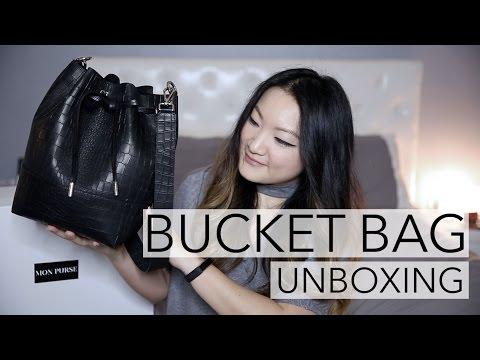 LUXURY BUCKET BAG UNBOXING | Mon Purse Custom Black Croc Embossed