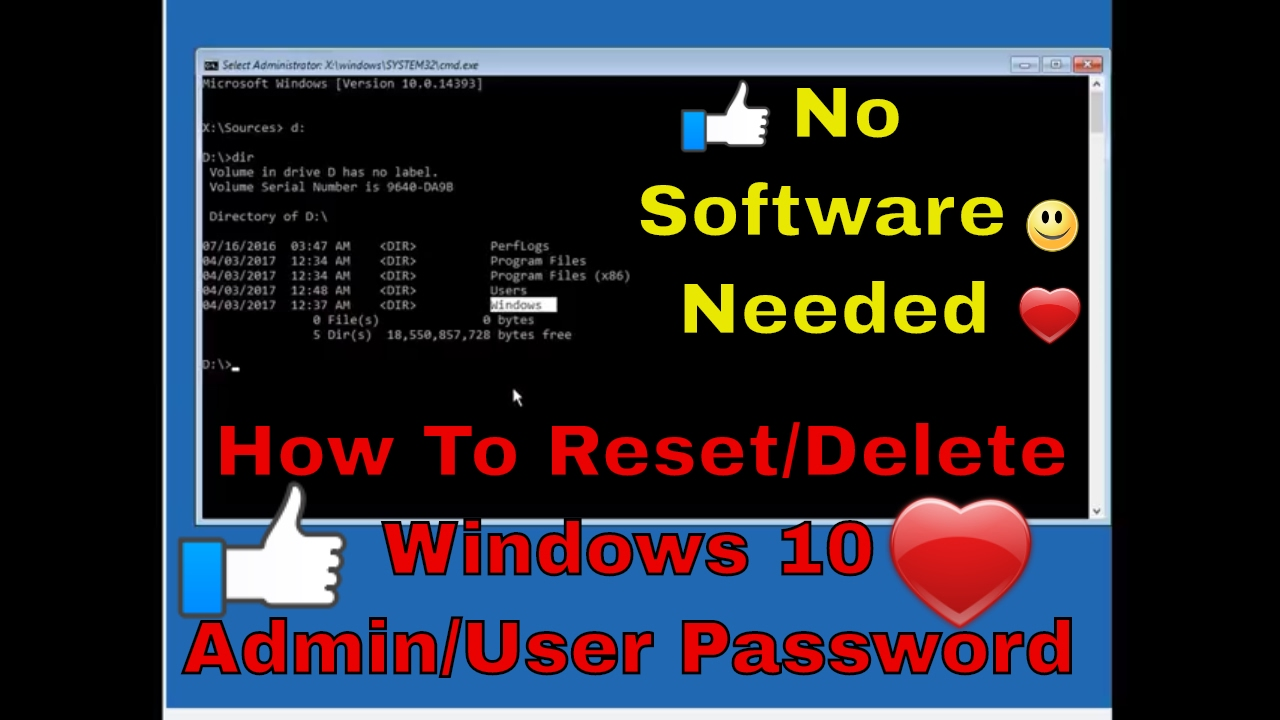 How To Reset/Bypass Admin Password In Windows 5 - YouTube