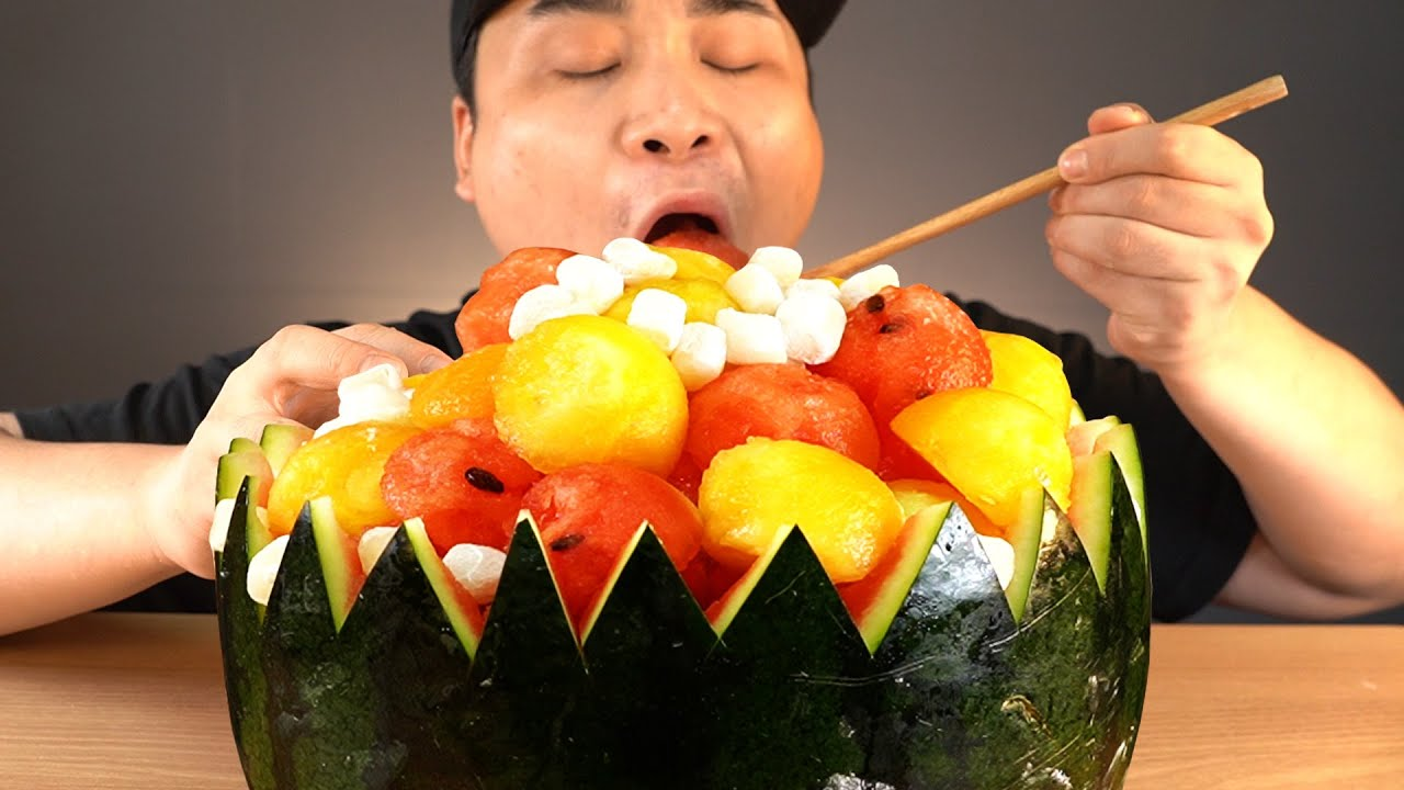 무더위가 찾아온 요즘! 시원한 수박화채 먹방~!! 리얼사운드 ASMR social eating Mukbang(Eating Show)