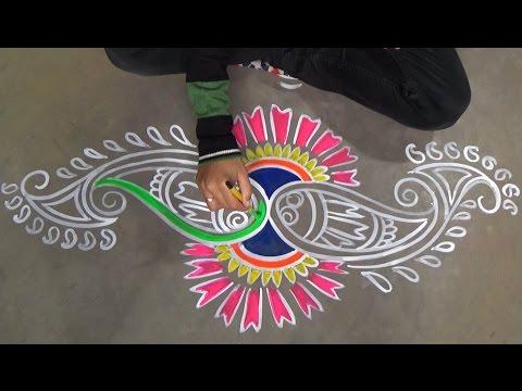 Freehand rangoli designs for door simple kolam designs for Door rangoli design images new