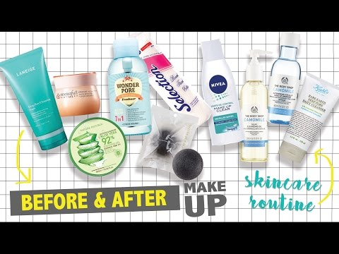 SKINCARE ROUTINE, Before and After Makeup | Combination to Oily Skin