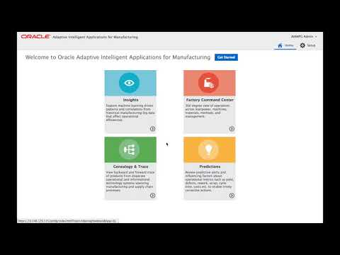 Oracle Adaptive Intelligent App for Manufacturing Functional Overview
