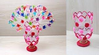 Plastic Bottle Flower Vase Craft - woolen craft - Water Bottle Recycle Flower Vase - Home Decor idea